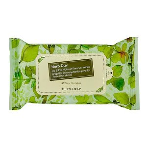 the face shop,herb day lip & eye makeup remover wipes